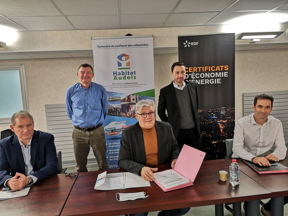 signature avenant partenariat Habitat Audois EDF
